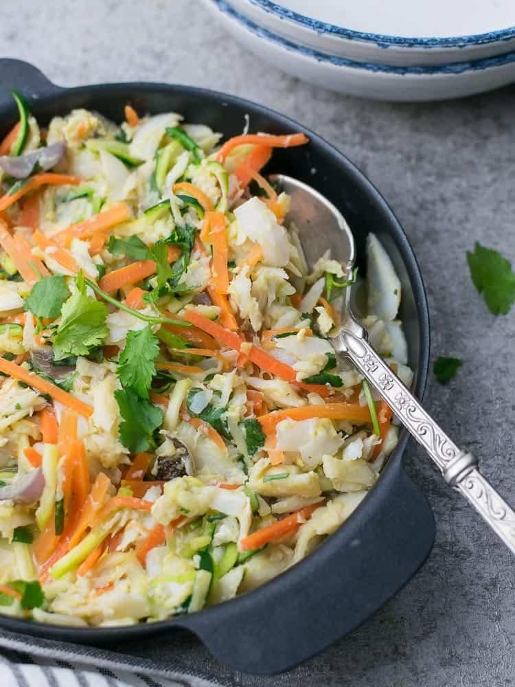 Bacalhau a bras com legumes