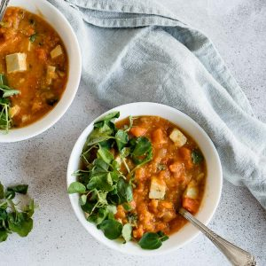 Sopa de batata doce e lentilhas