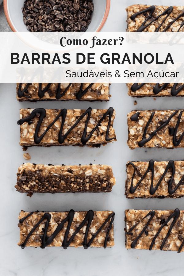 Barras de granola com chocolate