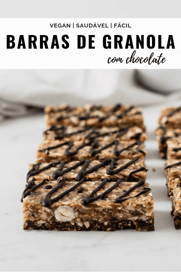 Barras de granola com chocolate
