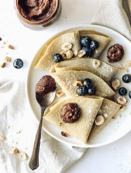 Crepes de Aveia com Nutella Vegan