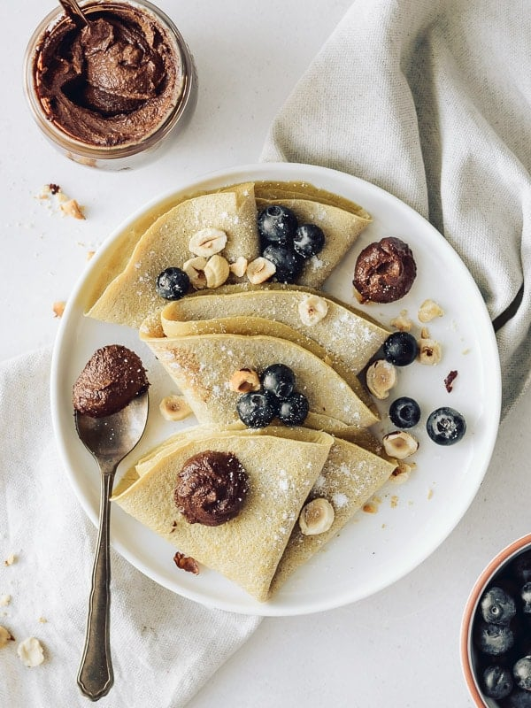 Nutella Vegan com crepes de aveia