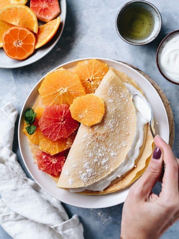 Crepes de côco e laranja