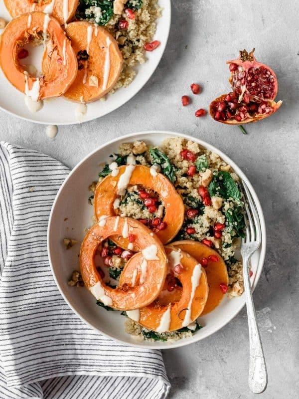 Salada quente de abobora e quinoa