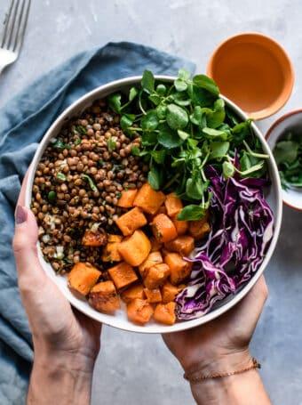 Veggie Bowl de Lentilhas e abóbora