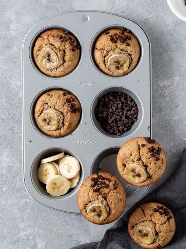Muffins de banana e aveia