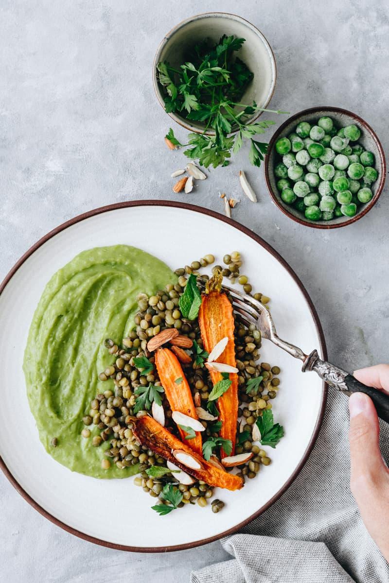 Salada de Lentilhas com Puré de Ervilhas