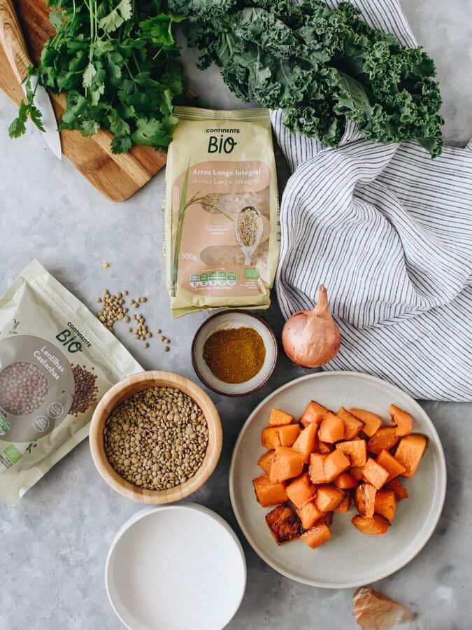 Caril de Lentilhas ingredientes